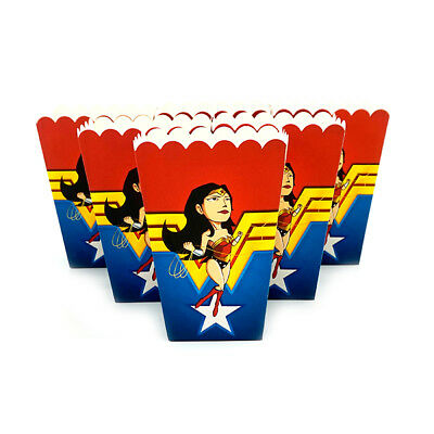 6pcs/lot Popcorn Box for Kids Children Wonder Woman Baby Theme Birthday Party