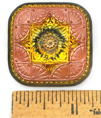 XXL 32mm Vintage Czech Glass FOCAL SQUARE GLOWING Fire AB Copper Frame Button