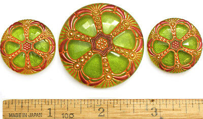 42mm 28mm Vintage Czech Glass LIME GREEN Faceted WINDOW 2SIZES Buttons 3pc SET