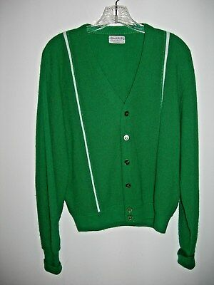 ROCKABILLY 50-60's Alfred of New York Cardigan Hipster Golf Varsity Green & Wht