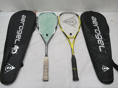 Dunlop Blackstorm and Aerogel Pro Plus Squash Rackets with Covers