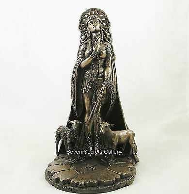Brigid Celtic Goddess of Fire & Forge Pagan Wiccan Bronzed Figurine Statue NEW