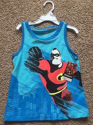 Incredibles 2 Disney Boys Shirt Blue Size 4T Jumping Beans Sleeveless Tee