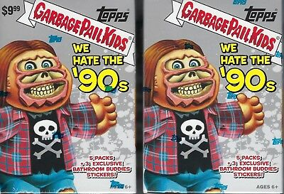 (2) 2019 Topps Garbage Pail Kids #1 We Hate The '90's Stickers BLASTER BOX LOT