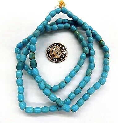 Robins egg blue  1700's style Antique rice shaped old beads { 10 Pc's } 1834 x1