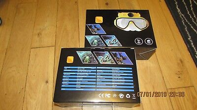 NEW -  DIVING/ SCUBA MASK WITH HD  UNDERWATER CAMERA  - blue