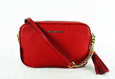 98eee478d5f3 MICHAEL KORS GINNY Bright Red Pebble Leather Crossbody Bag Msrp  178.00