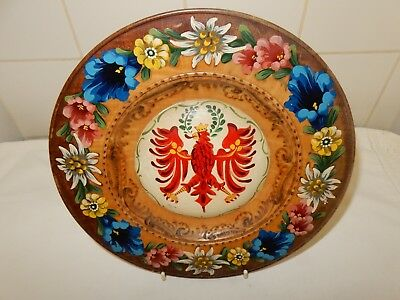 Vintage Turned Carved Hand Painted Wooden Treen German Wall Plate Oberammerga (i