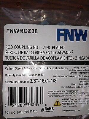 Qty 10 Hex Rod Coupling Nuts 3/8''-16 x 1-1/8 '' Zinc Plated