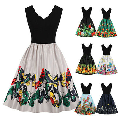 50'S Vintage Style Swing Pinup Retro Printed Casual Sleeveless Party Flare Dress
