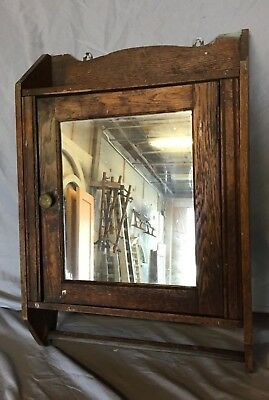 Antique Wood Medicine Cabinet Cupboard Mirror Shabby Vintage Old Chic 12-19C