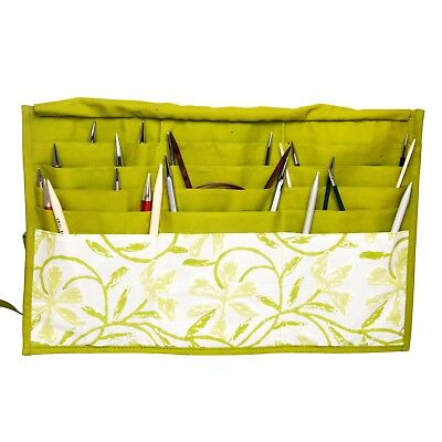 KnitPro knitting needle case for fixed circular needles. Greenery.