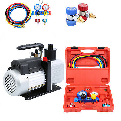Combo 5CFM 1/3HP Air Vacuum Pump HVAC + R134A Kit AC A/C Dual Manifold Gauge Set