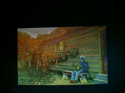 Vintage Black Americana Post Card old plantation Home in Kentucky Un posted
