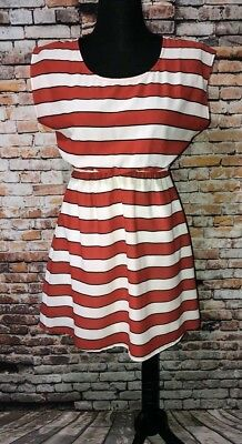 Ya Los Angeles L Red Black White Striped Dress Sundress Sheer Cutout Back Mini