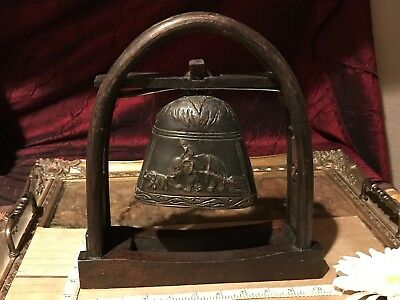 """Antique Vintage Bronze Bell on a Wooden Stand w/ Elephant Decor  10""""x9 3/8"""""""