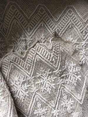 "Beautiful Antique French Chateau Handmade Needle Lace Panel 17""/100"" -Projects"