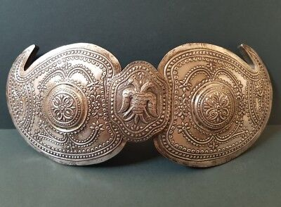 RARE ANTIQUE Ottoman Macedonian jewelry Hand-forged silver alloy belt buckle