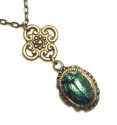 Metallic Green SCARAB Necklace EGYPTIAN REVIVAL Beetle Pendant Vintage Style