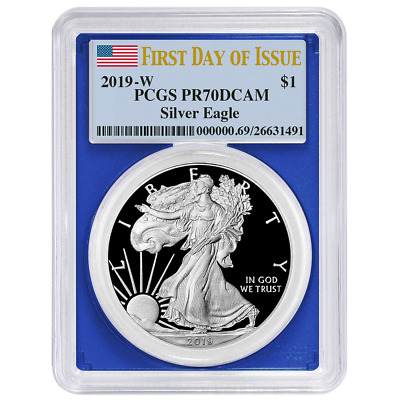 2019-W Proof $1 American Silver Eagle PCGS PR70DCAM FDOI Flag Label Blue Frame