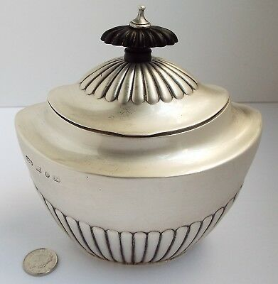 Beautiful Large English Antique Victorian 1892 Solid Sterling Silver Tea Caddy