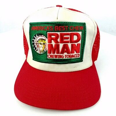 144b19a8 Vintage Red Man Chewing Tobacco Trucker Hat Cap Snapback Patch Mesh USA Chew