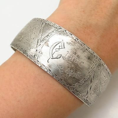 """925 Sterling Silver Antique Heavy """"Clare"""" Personalized Cuff Bracelet 6 3/4"""""""