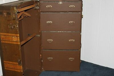 Antique Steamer Trunk Wardrobe, Bains Luggage Co. Phila., 4 Drawers, 9 Hangers