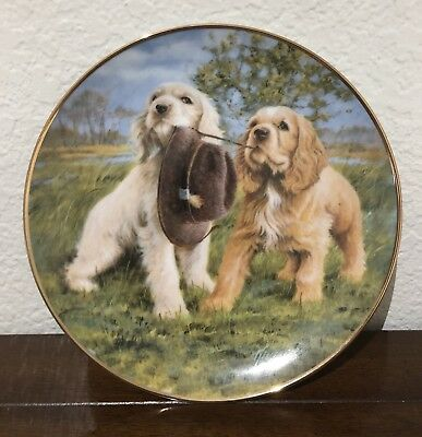 """Franklin Mint Cocker Spaniel Puppies Dog """"Hat Trick"""" Collectible Plate"""