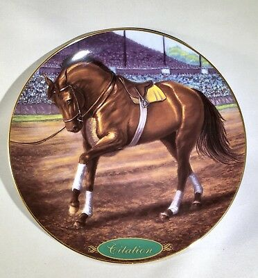 """Danbury Mint """"Citation"""" Champion Thoroughbred Race Horse Collectible Plate"""