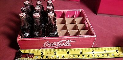 Rare Miniature Coca Cola 24 Wooden Case Tray With 12 Old Glass Bottles Of Coke