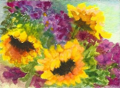 ACEO MINIATURE Original Watercolor Artist Card by Eileen Garden Sunflower Purple