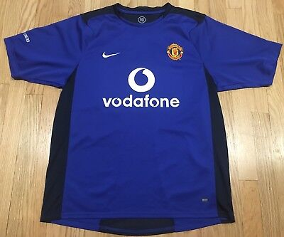 b5339f180 Nike Di-Fit Manchester United Blue Soccer Jersey Mens L Vintage Vodafone  Retro