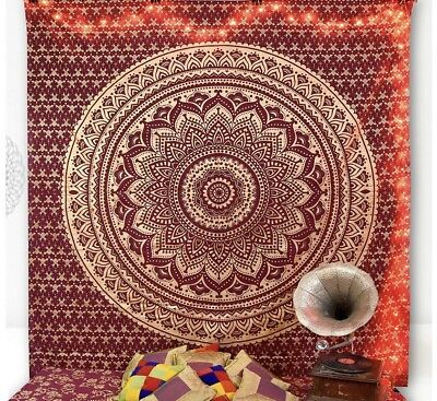 Large Red Ombre Indian Tapestry Mandala Cotton Wall Hanging Bed Deco Tapestries