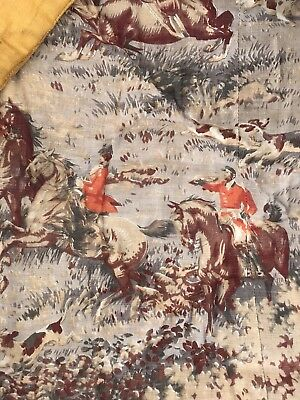 """Antique c1930s French Hunting toile Boutis Quilt Reversible 85"""""""