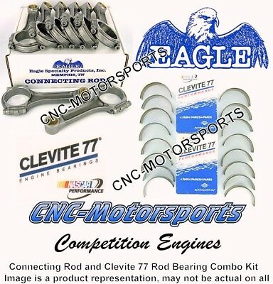 SB Chevy 283 327 S/J Press Fit Eagle Rods, I Beam with Clevite Rod Bearings
