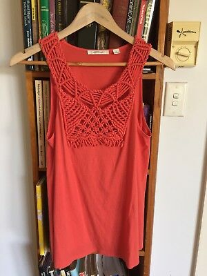 COUNTRY ROAD Women's Top Macrame Knotted Collar - Size L