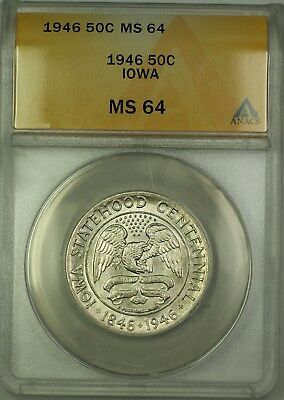 1946 Iowa Commemorative Silver Half Dollar 50c Coin ANACS MS-64 Very Choice BU