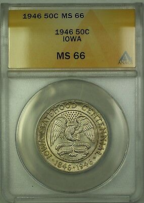 1946 Iowa Commemorative Silver Half Dollar 50c Coin ANACS MS-66 Toned GEM BU