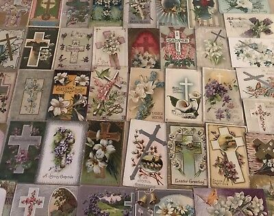 Huge LOT of  EASTER CROSSES & FLOWERS~ RELIGIOUS CROSS ANTIQUE POSTCARDS-a524
