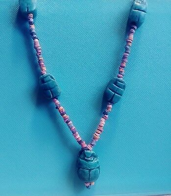 Sacred Scarab Mummy Beads Necklace Turquoise Green Faience Handmade in Egypt