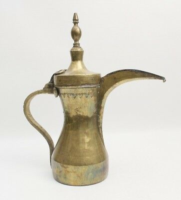 Antique Brass Omani Dallah Large Turkish Coffee Pot Hammered Design