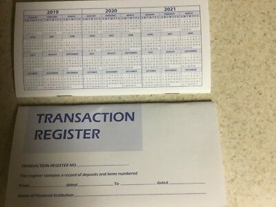 2 Checkbook Transaction Register  Calendar 2019 2020 2021 Check Book Reg.