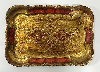 Vintage Italian Florentine Wood Wooden Tole Tray Gold Gilt Shades of Red