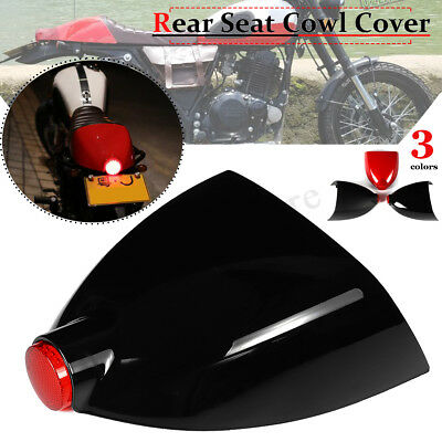 Universal Motorcycle Cafe Racer Rear Seat Cover Cowl Fairing Cover w/ Tail Light