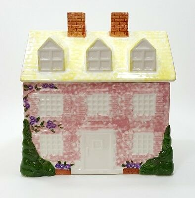 Pier 1 Imports Pink Colonial House Home Cookie Jar Canister Made In Japan
