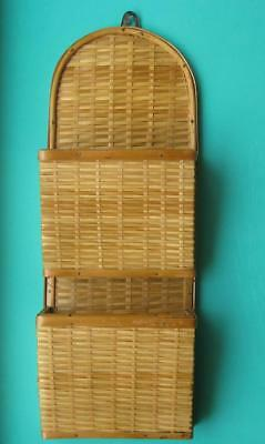 RETRO VINTAGE LETTER BILL HOLDER WALL HANGING Made from Wicker