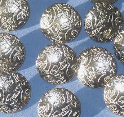"""Fancy Ornate Set 12 Vintage New SILVER Nickel buttons 5/8"""""""
