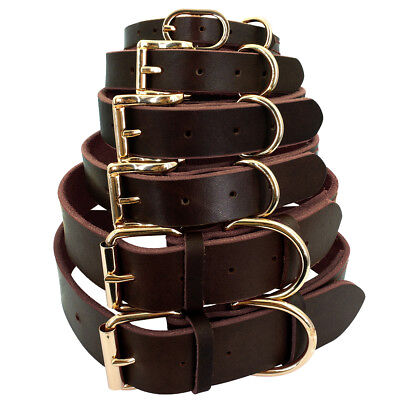 Best Genuine Leather Dog Collar for Small Large Dogs Yorkie Rottweiler XS-2XL