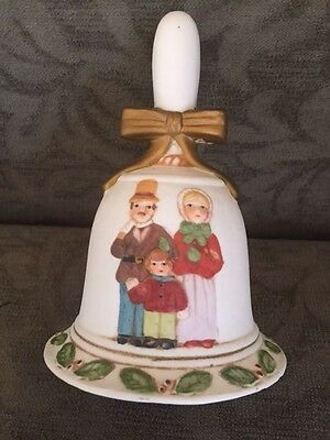 """Collectible Porcelain Flambro """"The Carolers"""" Holiday Christmas Bell Decoration"""